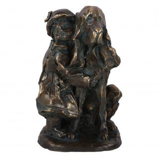 Статуэтка «Девочка с собакой» (декоративная скульптура) (Античная бронза)