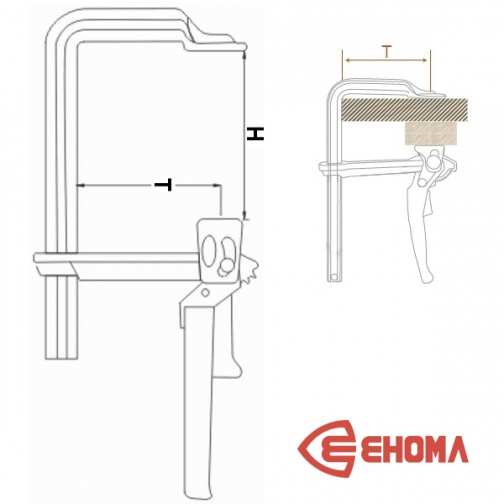 Струбцина F-образная EHOMA G80L, 800х120 мм 6764175 1