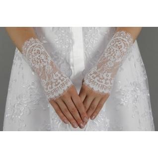 Перчатки свадебные №142, белый (20 см, шантильи)