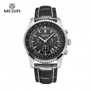 Megir Aviator Chronometer (серебристый корпус, черный циферблат, черный ремешок)