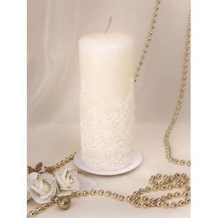 Свеча Морозные узоры, мигающая (h 16см, горение 27ч, арт 2112), белая