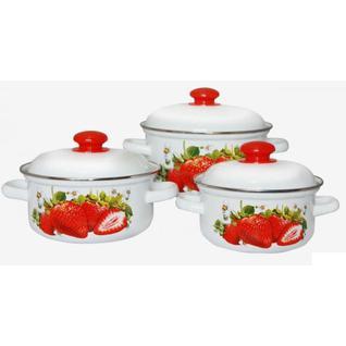 Сочная клубника С-124АП2/4СК, Набор эмалированной посуды, 3 кастрюли с крышками (1,5 л, 2,0 л, 3,0 л) Лысьвенские эмали