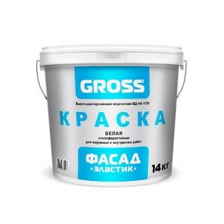 Краска Gross фасад эластик ВД-АК-1701 полупрозрачная, 3.7 кг