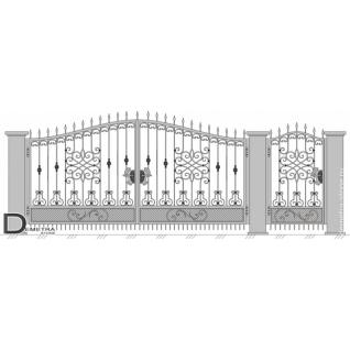 Кованые ворота калитка В-015 (2м x 3.5м)