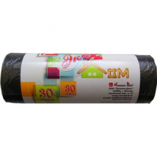 Мешки для мусора ПНД 30л 48х58см 6мкм черные 20шт/рул