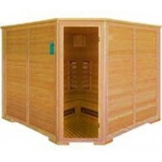 Инфракрасная сауна 6 - местная, угловая со стеклянной дверью и деревянным фасадом