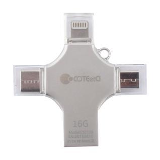 Флеш-накопитель COTEetCI 4in1 Zinc Alloy (CS5129-16G) Lightning/ MicroUSB/ Type-C/ USB 2.0 Серебристый