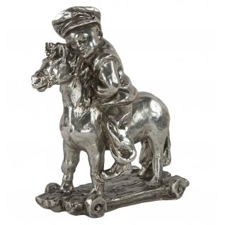 Статуэтка «Мальчик на лошадке» (декоративная скульптура)(Античное серебро)