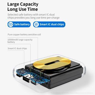Внешний Аккумулятор с Беспроводной зарядкой Rоскspace P51 Powerbank 10000mAh