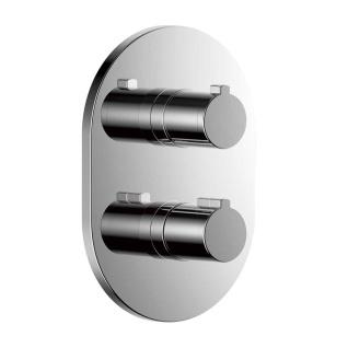 Внешняя часть смесителя для ванны-душа Clever NINE URBAN ROUND, термостат, 2 или 3 выхода, хром