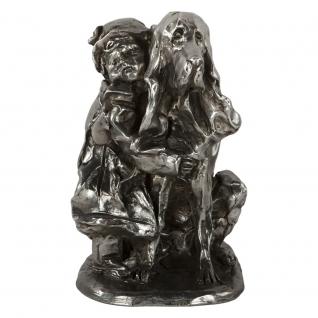 Статуэтка «Девочка с собакой» (декоративная скульптура) (Античное серебро)