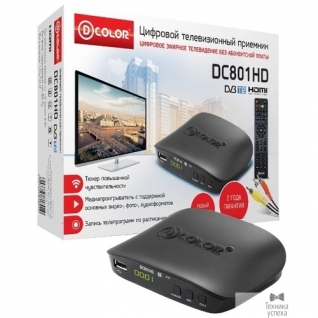 D-Color Ресивер DVB-T2 D-Color DC801HD черный MStar 7T01, maxliner 608, RCA, HDMI, USB