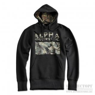 Толстовка Alpha Industries с камуфляжным принтом, цвет черный