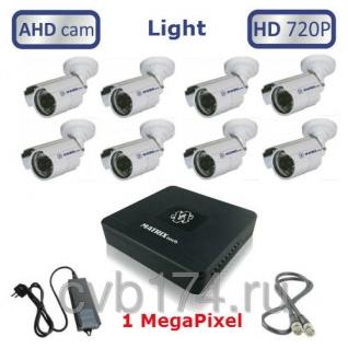 Готовый комплект из 8 уличных видеокамер высокого качества HD 720P/1 МегаПиксель ...