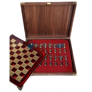 """Шахматы """"Греко-Римские"""" в кейсе (красная доска, фигуры золото-бронза), малые"""