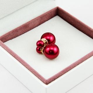 Серьги шарики Mise en Dior бордовые