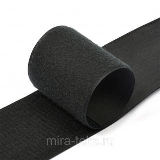 Липучка 100 мм ( лента контакт, велькро ) для одежды, цвет: черный Miratex