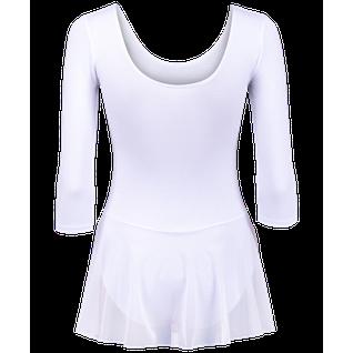 Купальник гимнастический Amely Aa-181, рукав 3/4, юбка сетка, хлопок, белый (28-34) размер 32