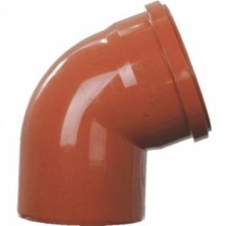 Отвод для трубы фановой оранжевой, раструб под 110мм - 110мм, 67°