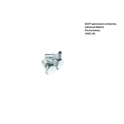 БОЛТ крепления сегментов, зубчатый М6Х16 Ростсельмаш 36973769