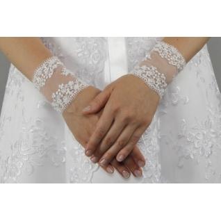 Перчатки свадебные №127, белый (короткие)