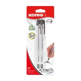 Ручка шариковая KORES К11 неавт M(1мм) треуг.корп, масл, черн 2шт/уп блист