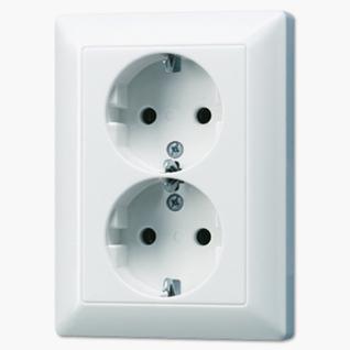 Розетка электрическая Jung AS5020KIUWW SCHUKO 16А 250V~ двойная со шторками с заземлением белая пластик