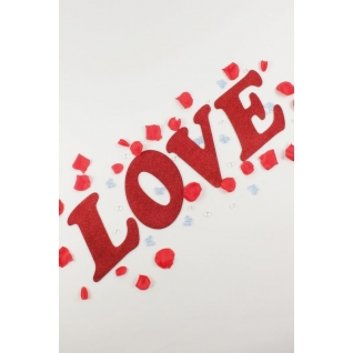 """Декор-надпись """"LOVE"""" с блёстками /красный"""