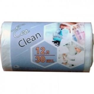 Мешки для мусора ПНД 12л 6мкм 32х50см 30шт/рул.,белые Ecoclean