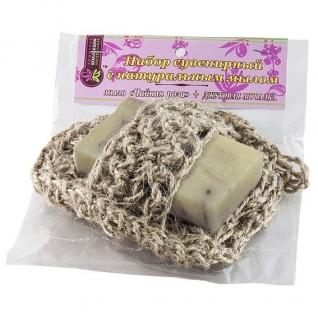 Мочалка с мылом Чайная роза из джута