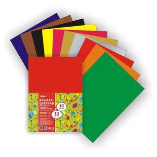 Бумага цветная №1School 10л.10цв.А4 мелован(золото+сереб) Отличник