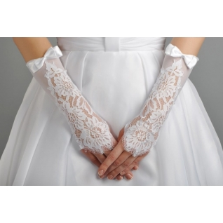 Перчатки свадебные №203, белый (средней длины)