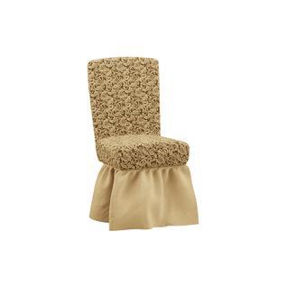 Комплект чехлов для четырех стульев ПМ: Ми Текстиль Чехол на комплект из четырех стульев жаккард с юбкой