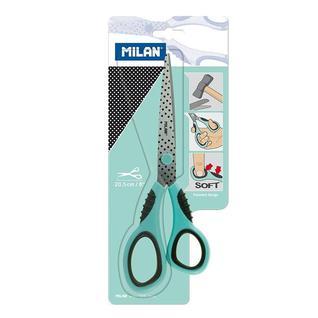 Ножницы Milan нержавеющая сталь, 202 мм, пластик, резина, блистер, мятный