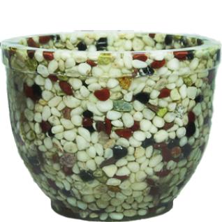 Кашпо для цветов Смесь натуральная: белый и красный мрамор, зеленый оникс