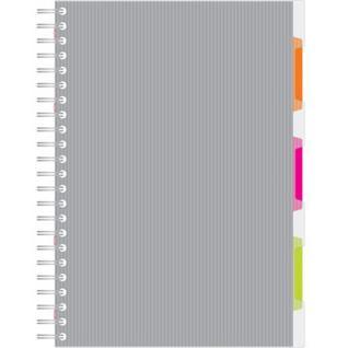 Бизнес-тетрадь 140л,кл,А4,SPIRAL BOOK Серый,евроспир,обл.пласт,раздел.84103