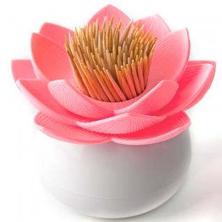 Держатель для зубочисток Qualy Lotus белый/розовый