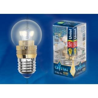 Uniel LED-G45P-5W/WW/E27/CL ALC02GD пластик