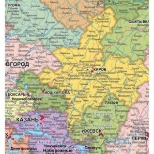 Настенная карта РФ политико-административная 1:4,4млн.,2,0x1,4м.,наотвесах