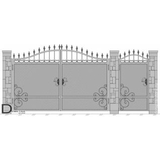Кованые ворота калитка В-023 (2м x 3.5м)
