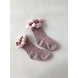 3938 носки детские с помпонами пыльная роза Роза (12-18) (16)