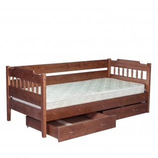 Кровать сосна с тремя спинками с выкатными ящиками