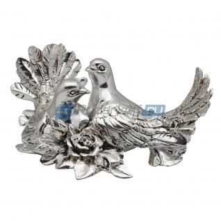 Пара голубей с розами, посеребрение