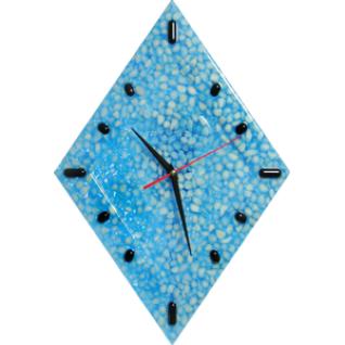Часы настенные -Белый мрамор, синяя смола