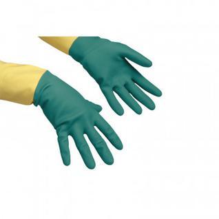 Перчатки резиновые Vileda Profes латекс/неопр хлопк.напыл зел/жел S 120267
