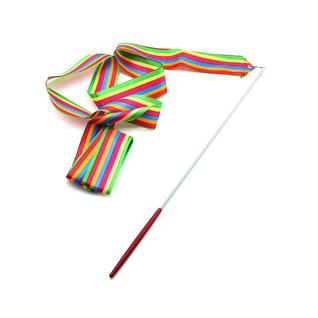 Лента для художественной гимнастики Amely Agr-201 4м, с палочкой 46 см, радуга