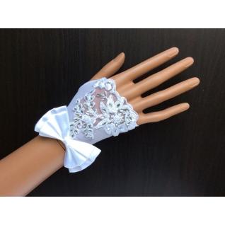 Перчатки свадебные №154, белый (9 см, стразы)