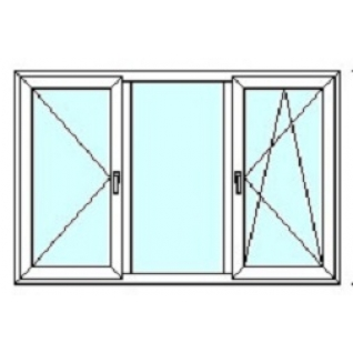 TEPLOWIN Трехстворчатое окно Darrio Гост 200 с двумя створками