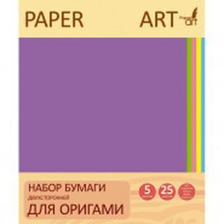 Бумага для творчества для оригами двухсторонняя 25л.5цв.20х20см. ЦБО255288