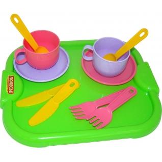 """Набор детской посуды """"Минутка"""" с подносом на 2 персоны Полесье"""